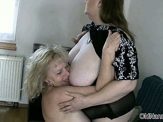 Horny granny with big tits loves having part5